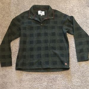 Thick, warm, green and brown plaid pullover